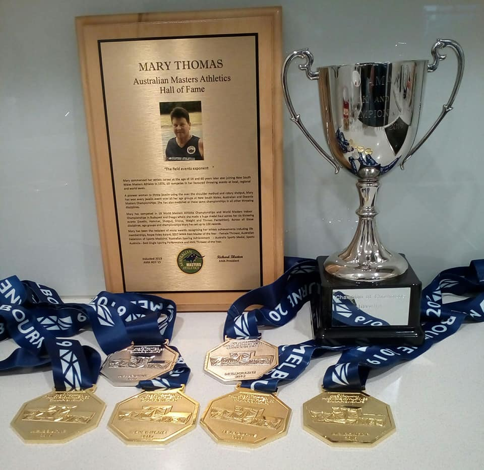 Mary's Medals,Hall of Fame Plaque & trophy for C of C Javelin 29-4-19  .jpg