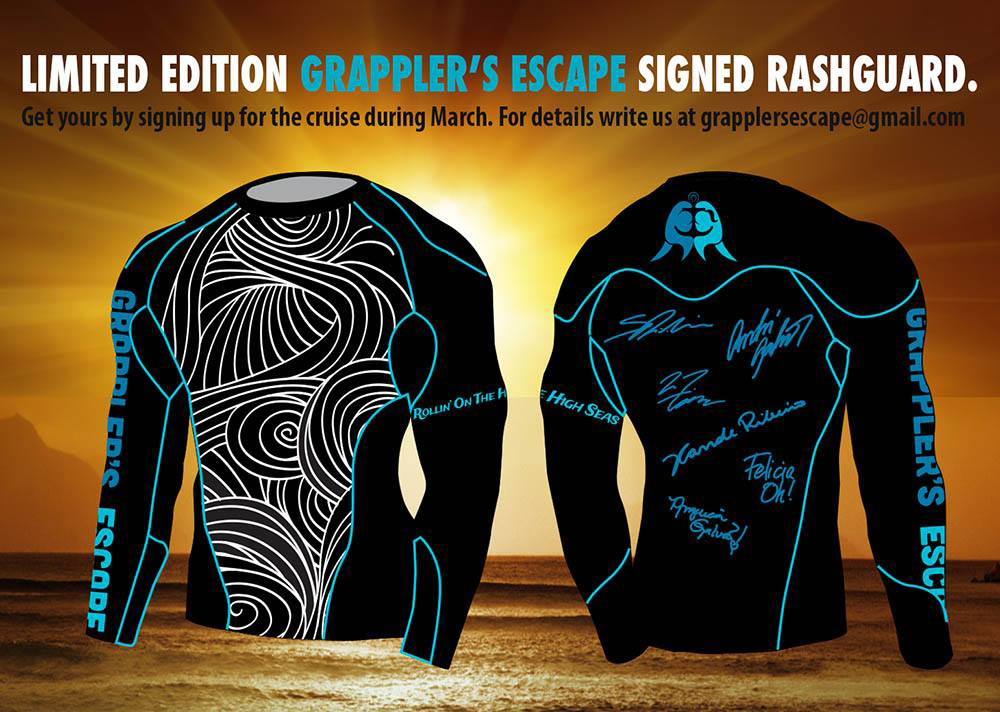 March 2015. Grappler's Escape rashguard made by Hyperfly.  For more info visit   www.grapplersescape.com