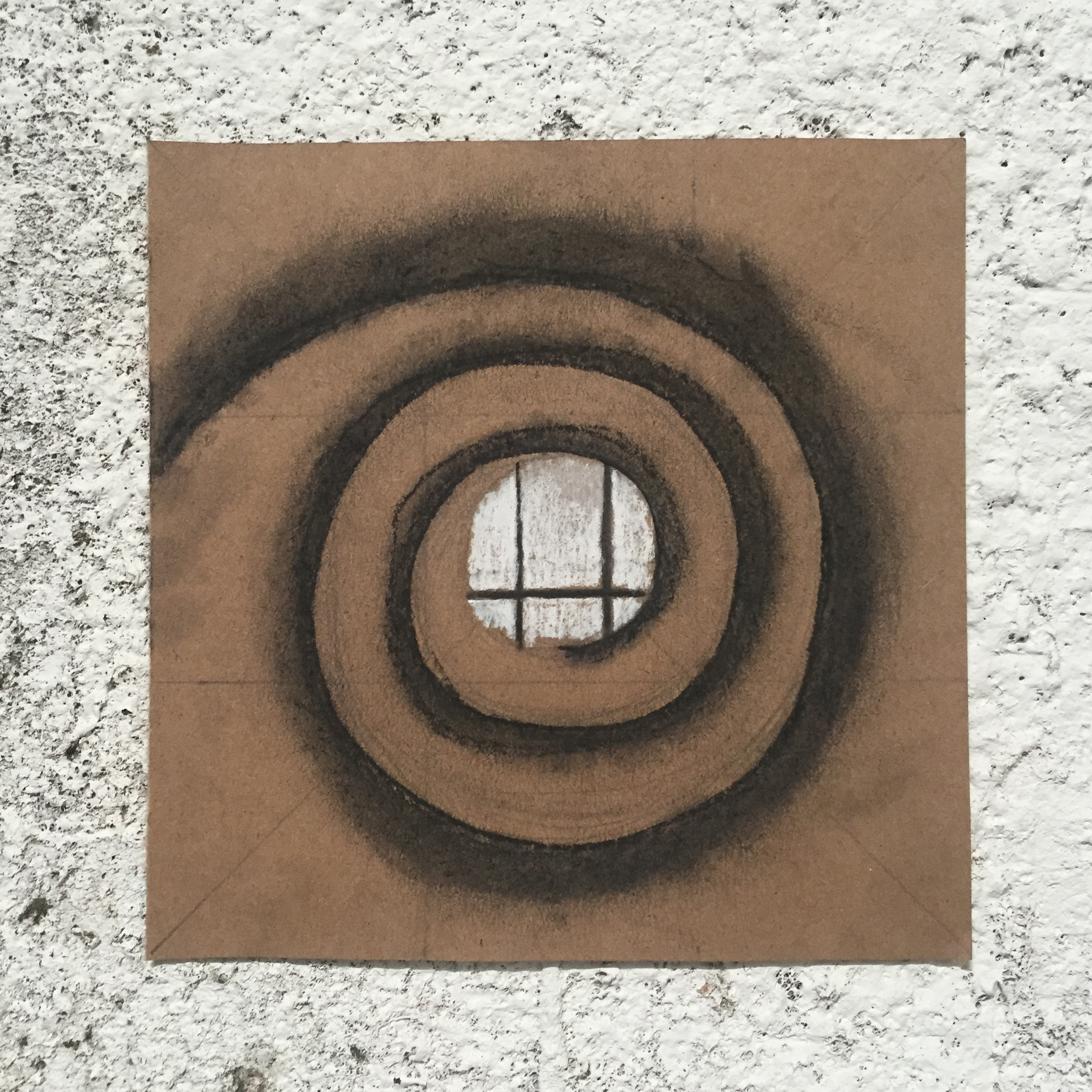 """""""Cycles of Life and Death"""" by Bernadette Cay. Charcoal and pencil on kraft paper."""