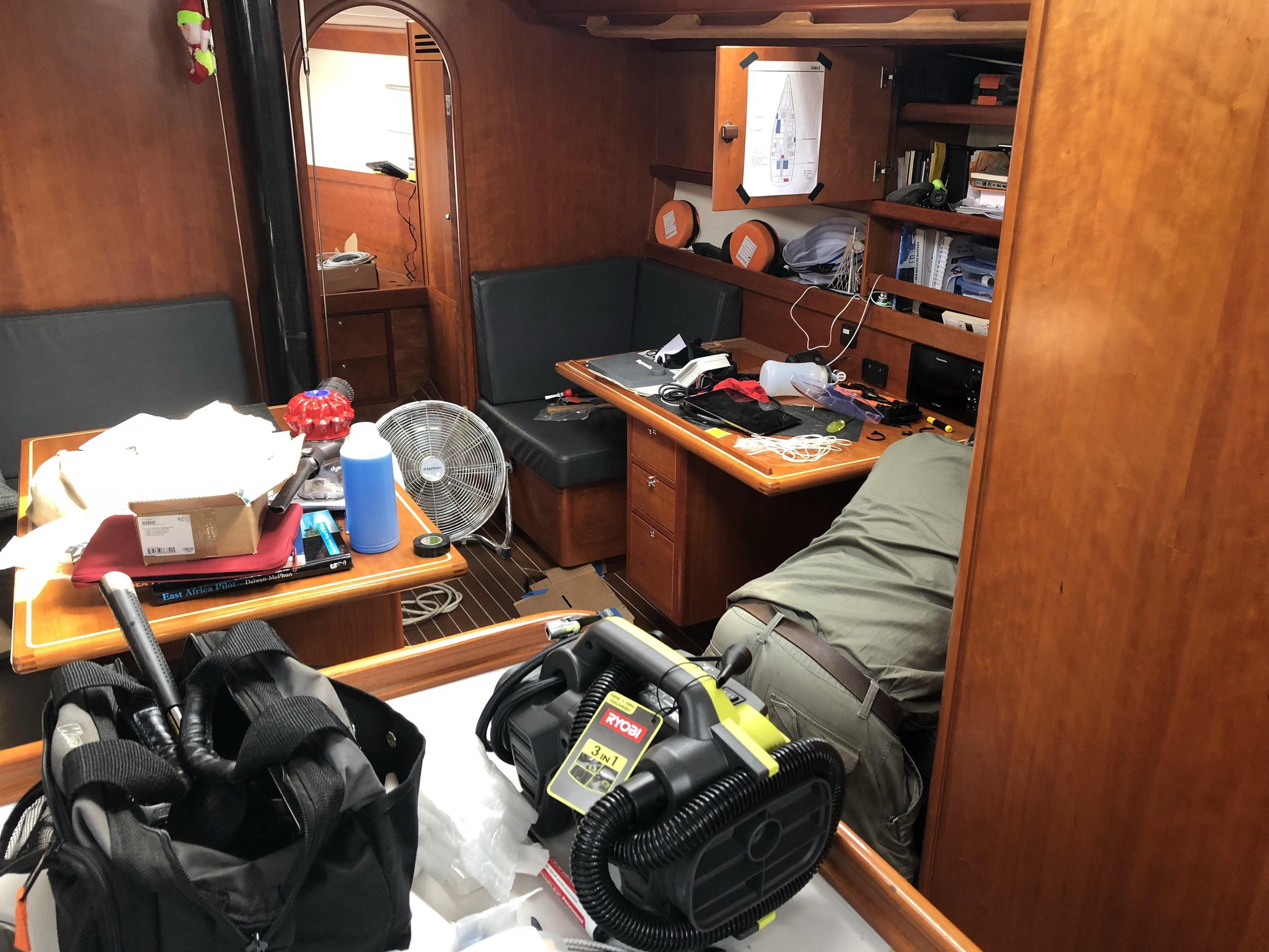 Ongoing mess on a boat - but look.....