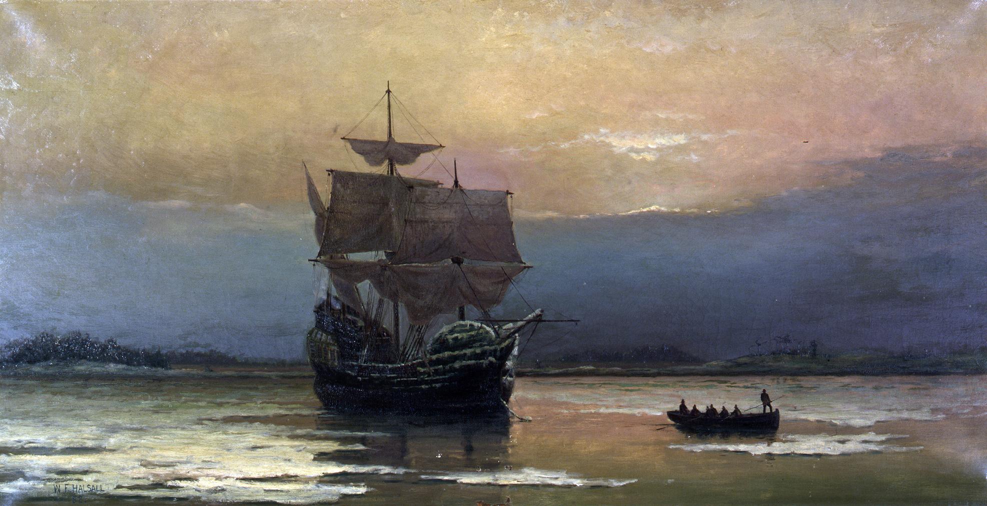 Mayflower_in_Plymouth_Harbor,_by_William_Halsall.jpg