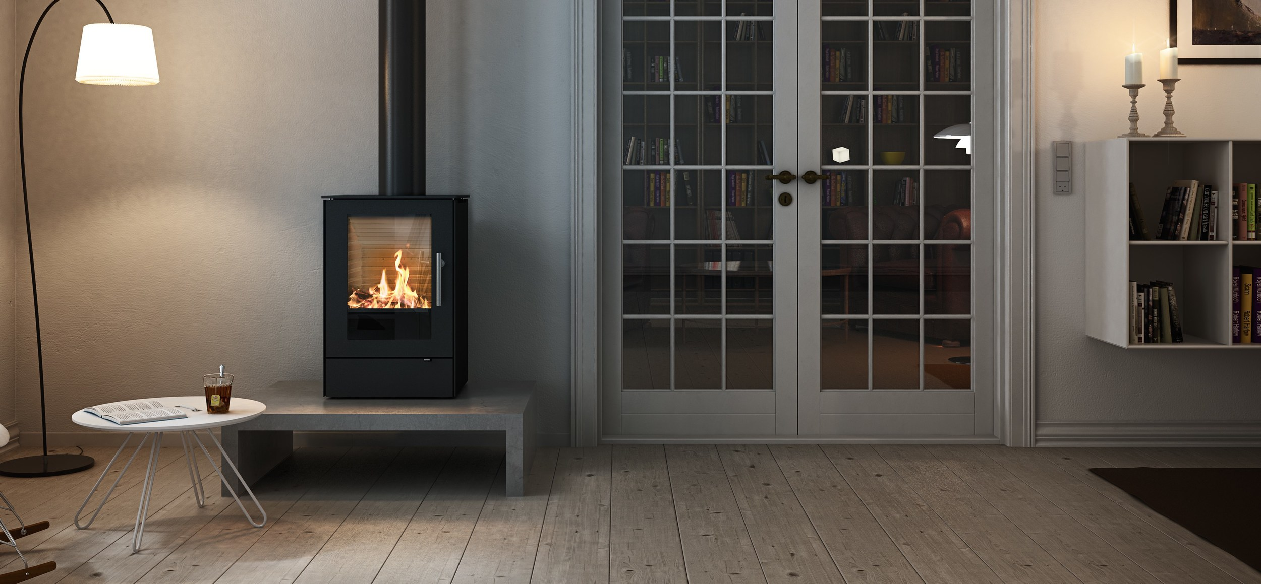 Rais Q-tee on Bench   This wood burner is on display in our showroom - The larger Q-tee2 is also on live display