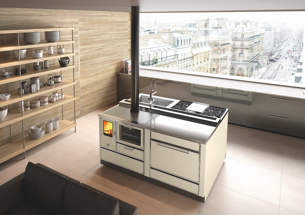 Kitchen Kamin KE90H in Ivory complete with companion modules