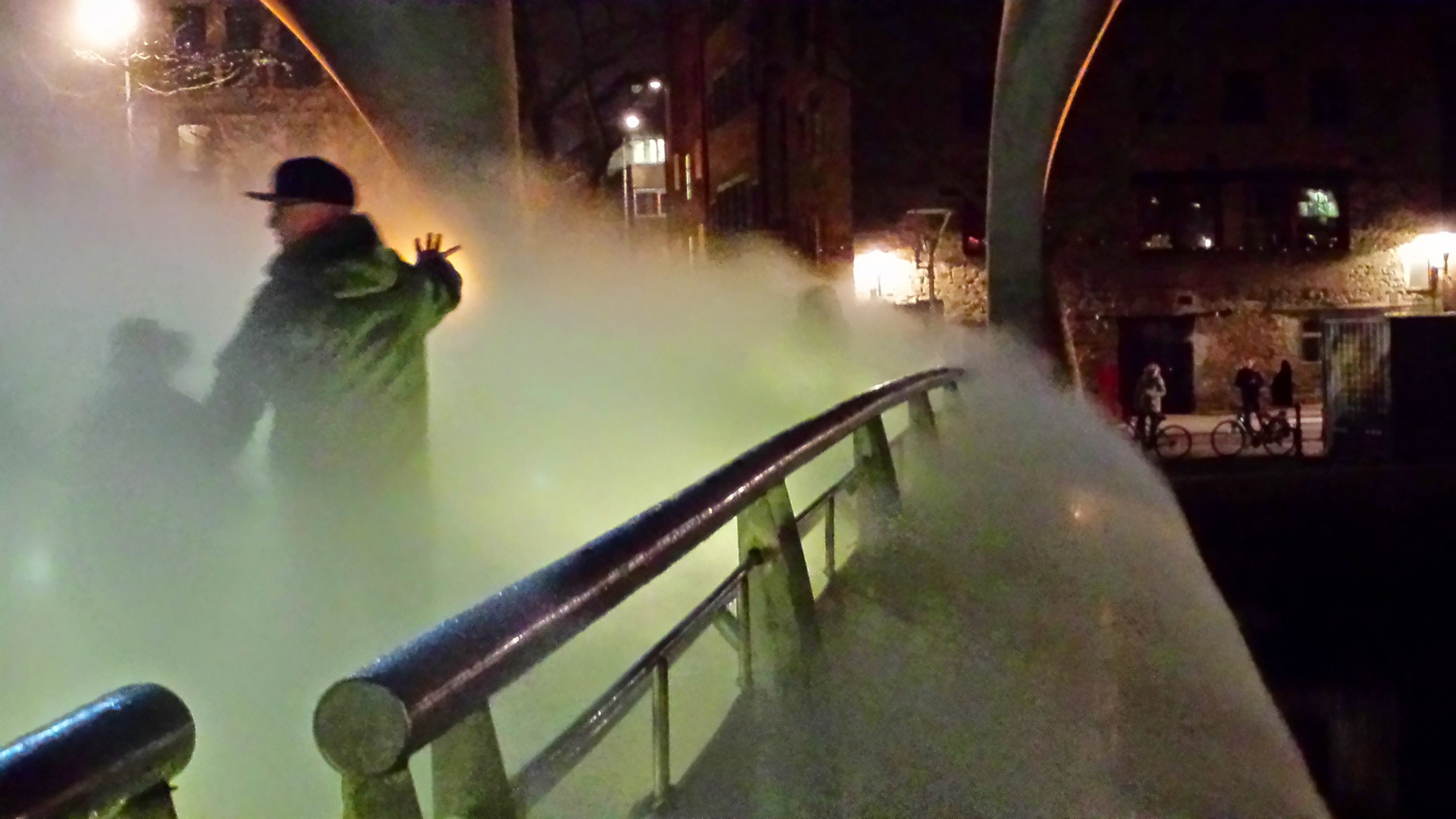 Fog Bridge, an art installation by Japanese artist Fujiko Nakaya, Pero's Bridge, Bristol, February 2015. Part of the In Between Time festival and European Green Capital