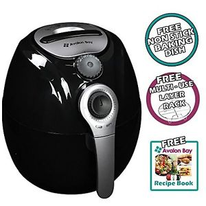 Image from Amazon  Product description: Avalon Bay is simply giving you the opportunity to fry, bake, grill or roast your food, but in a healthier way. Features: 3.2 liter oil-less air fryer includes 2 piece baking set and cookbook 30 minute timer non-slip feet removable basket for easy transfer of food temperature up to 400 degrees 1400 watts/120 volts. Don't deep fry your food, air fry your food in this healthy mini convection oven. Air fryers work the same way as convection ovens, but better.