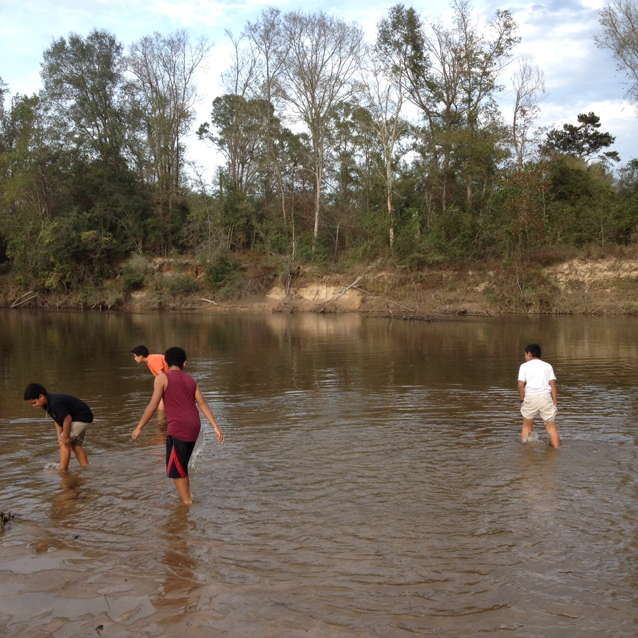 Not too chilly for a dip! Sixth graders searching for the perfect skipping stones at Bogue Chitto SP.