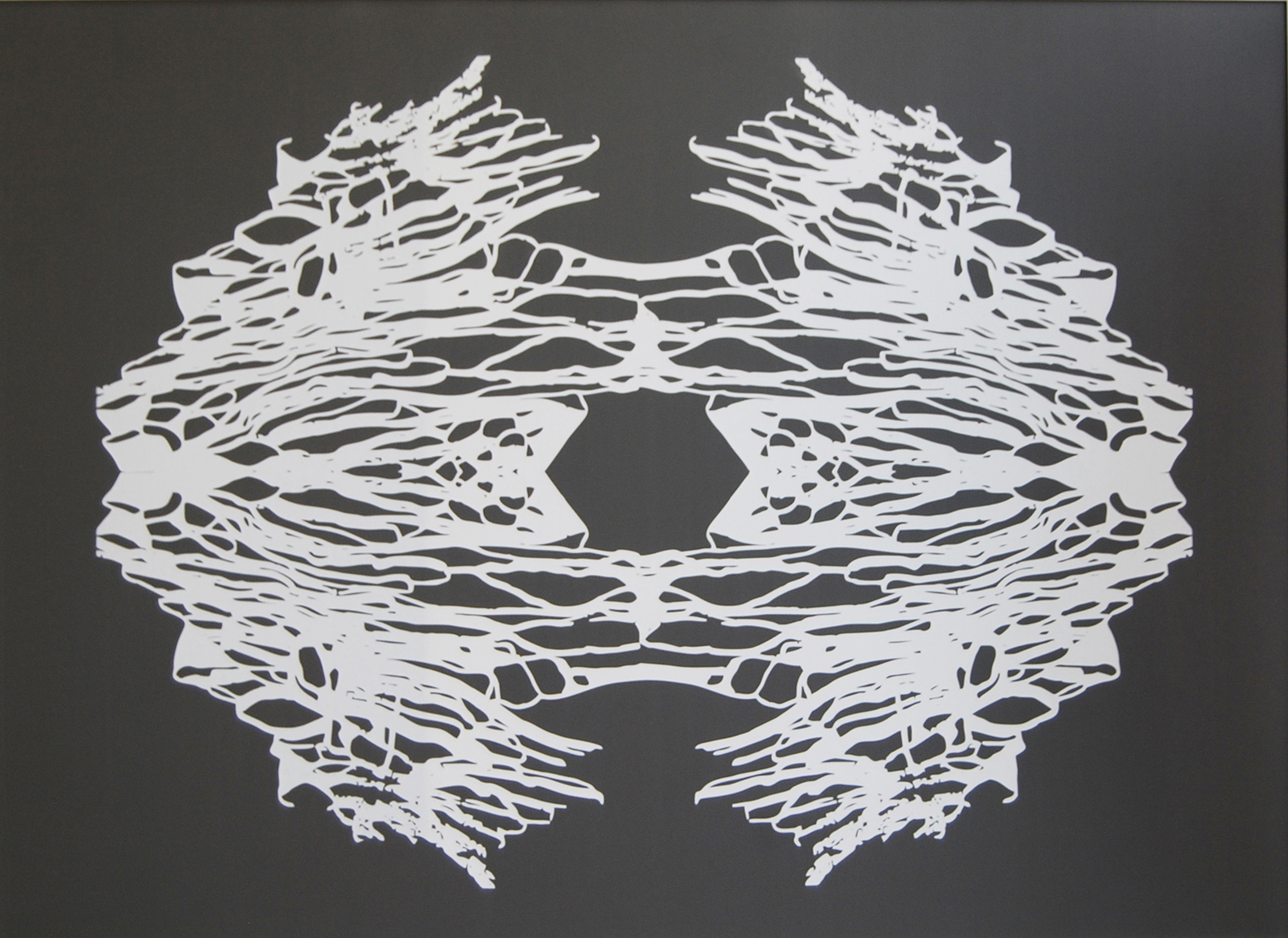 Ahmed Al Faresi,  Dreamcatcher , White Ink on Pleather
