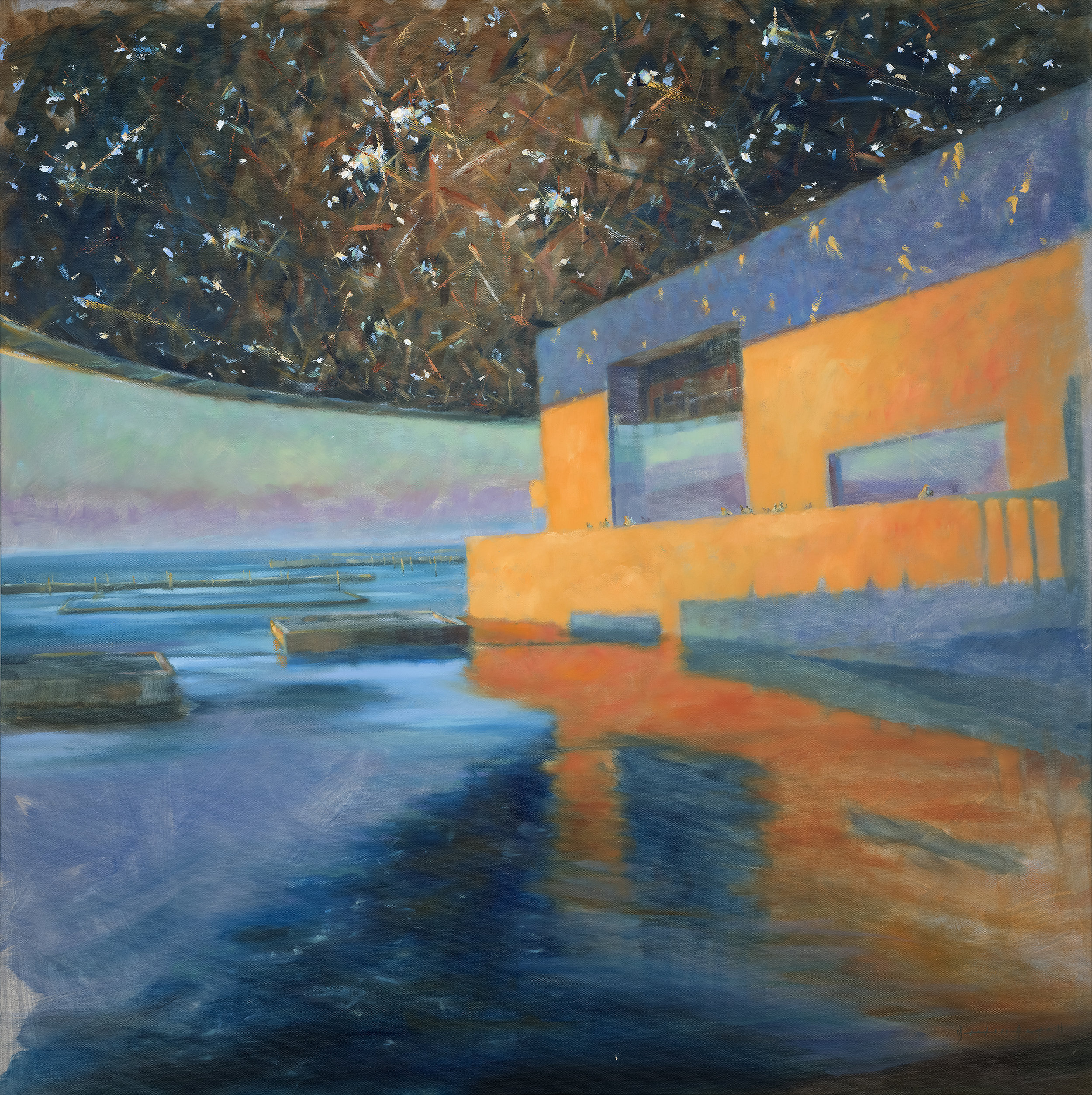 Mike Arnold | Louvre Sunset | Oil on Canvas | 120x120cm