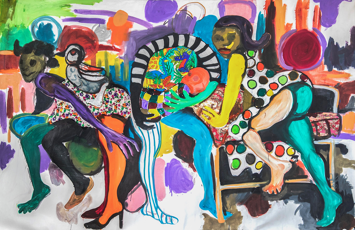Wycliffe Mundopa Rise and Shine 2015 , Oil and Collage on Canvas , 240 x 160.jpg