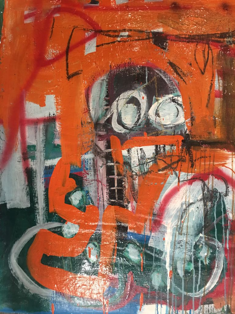 Ehoodi Kichapi , Orange Face , 2017 , Acrylic on Canvas, 74 x 100cm .jpeg