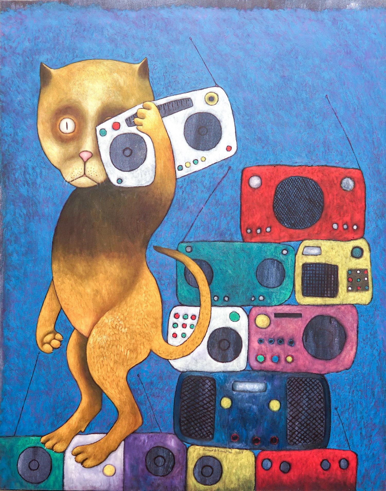 Richard Kimathi, Radio Gaga, 2013, Oil on Canvas, 150h x 119w AED .jpg