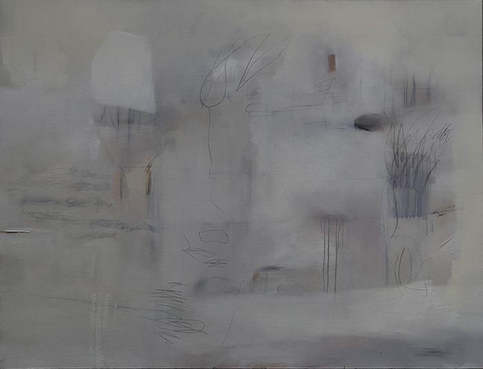 HT104 The Recesses of the Domestic Space Become Sites for History's Most Intricate Invasions (i)%22, 2017,Rain, Oil Paint and Graphite on Canvas, 170 x 130 cm .jpg