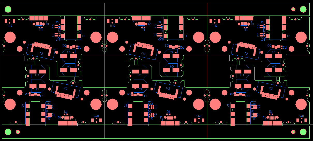 This is a good example of where the odd shape of the PCB made it useful to rotate the individual PCB's within the panel and thus save a lot of overall PCB real-estate