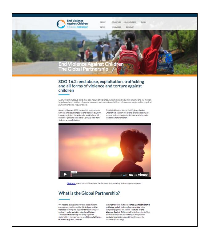 CLIENT:  Global Partnership to End Violence Against Children  PROJECT: Website development and maintenace