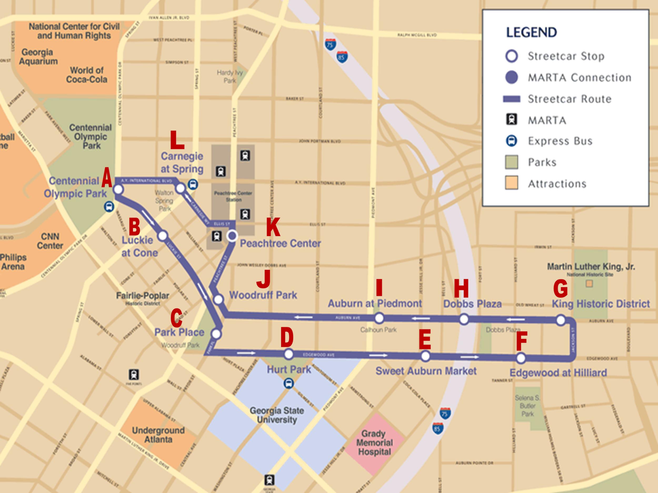 Atlanta Streetcar Route (click to enlarge)