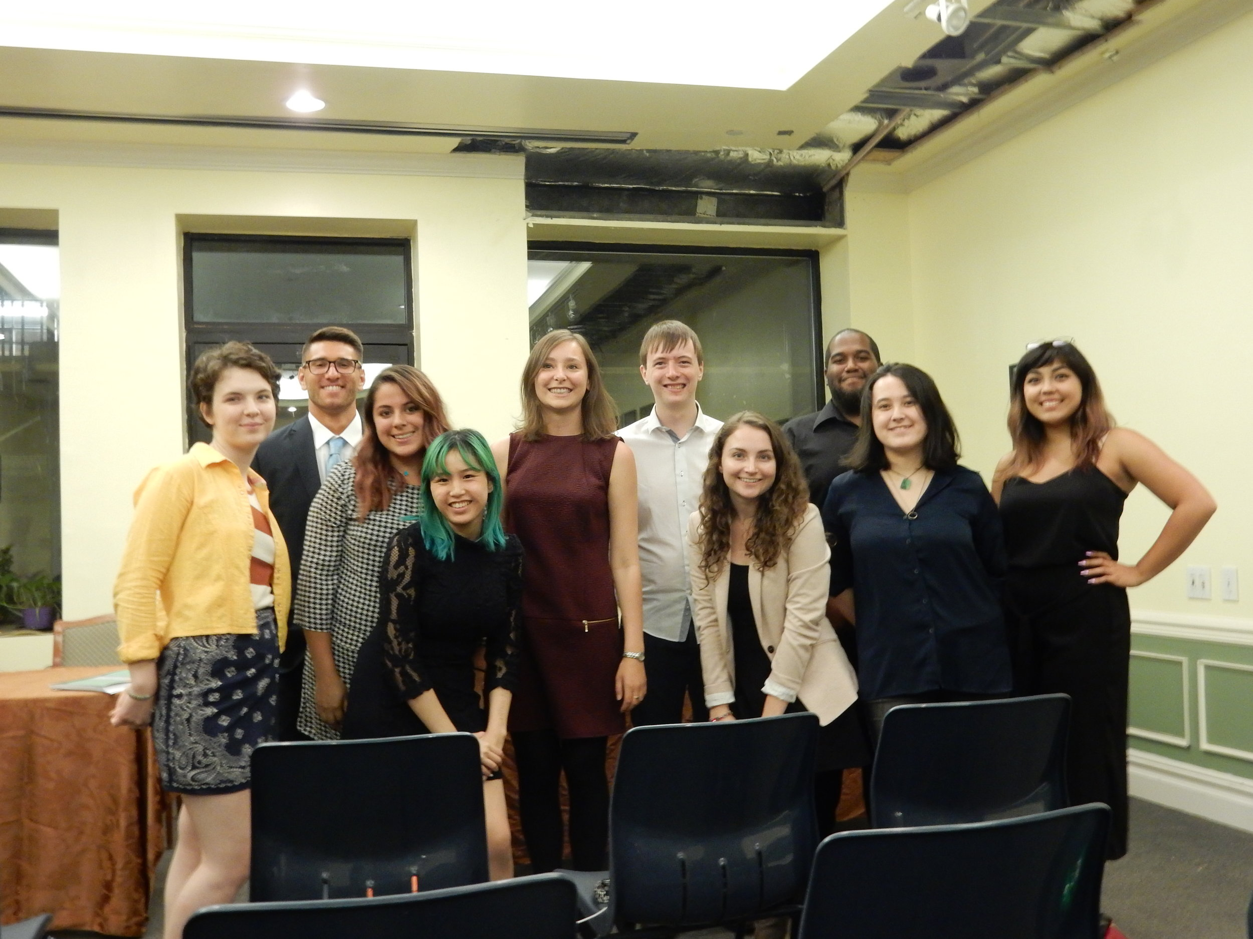 St. John's University Debaters and the 2017 British Tour Debaters pose after the first debate of the 2017 tour.