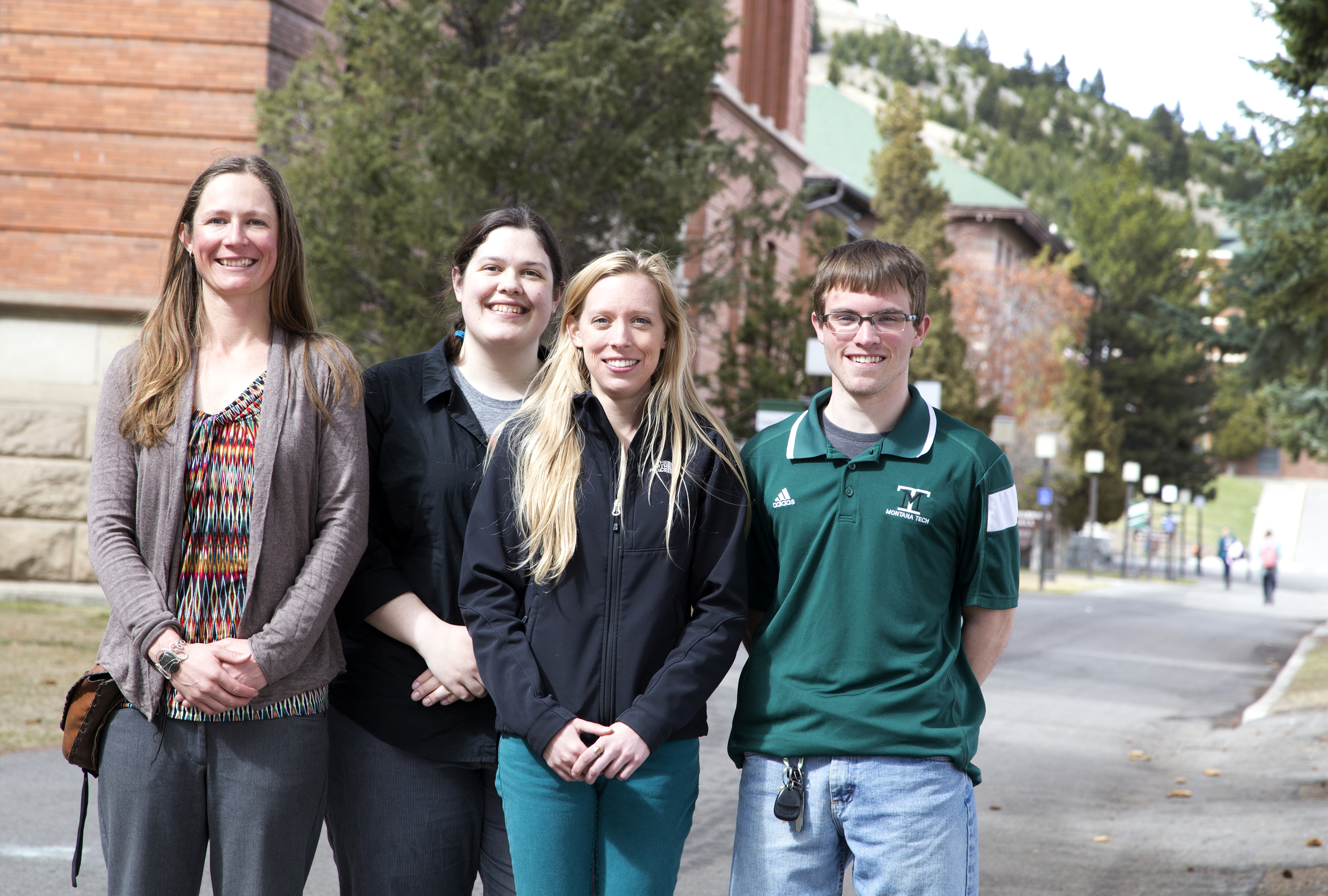 Left to right: Dr. Alysia Cox; Georgia Dahlquist,   MS Geochemistry;   Renee Schmidt, MS Geochemistry; Jordan Foster, undergraduate research fellow.  Not pictured: McKenzie Dillard, undergraduate.  Photo taken by David Nolt.
