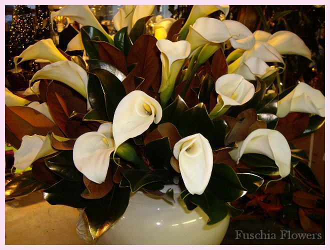 Italian urn of large calla lilies and magnolia branches.JPG