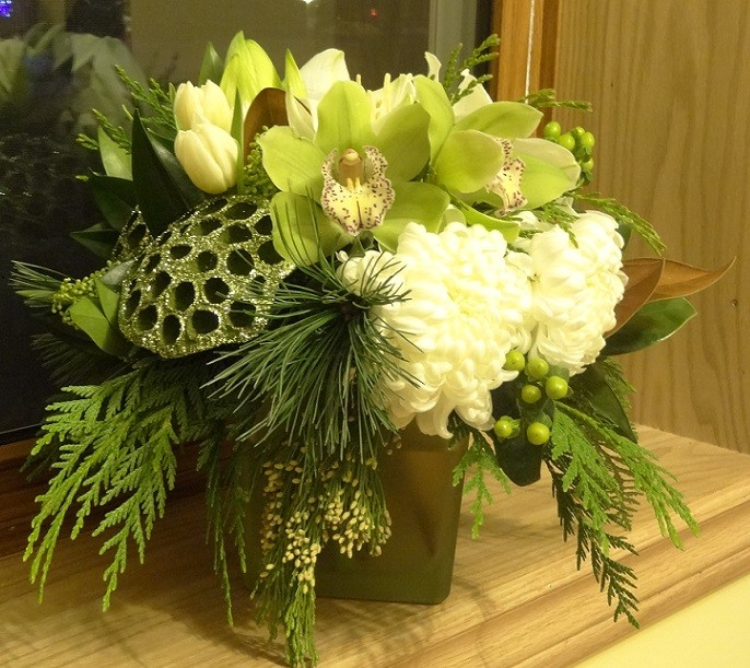 Cream football mums, ivory tulips and green cymbids.jpg