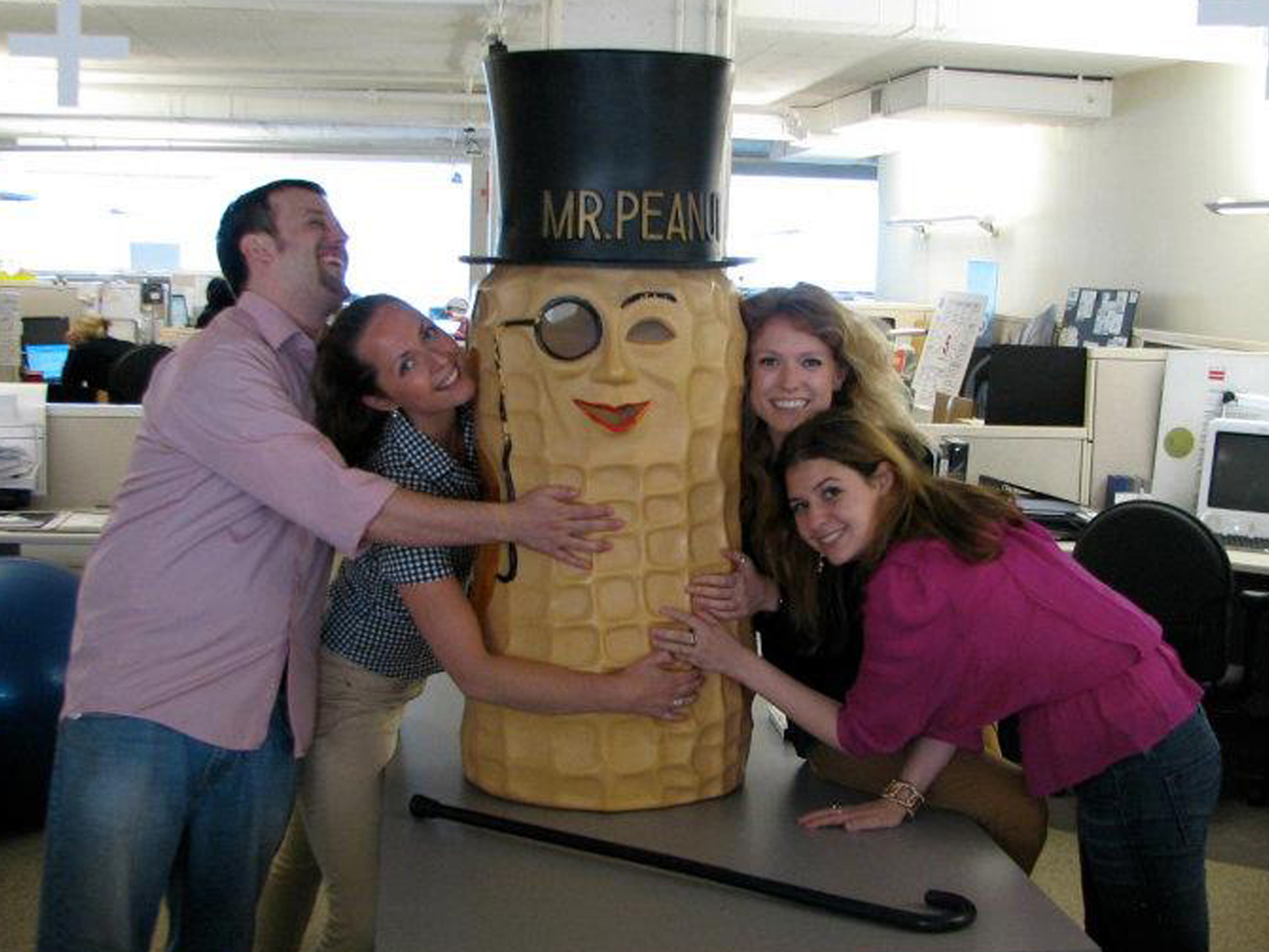 MDB Interns posing with Mr. Peanut