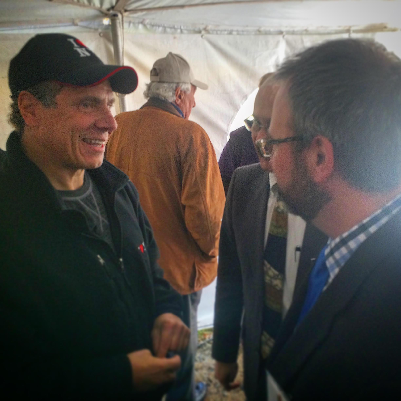 Governor Cuomo with Jeff Senterman, Executive Director of the Catskill Center and Michael Drillinger, Catskill Interpretive Center Coordinator.