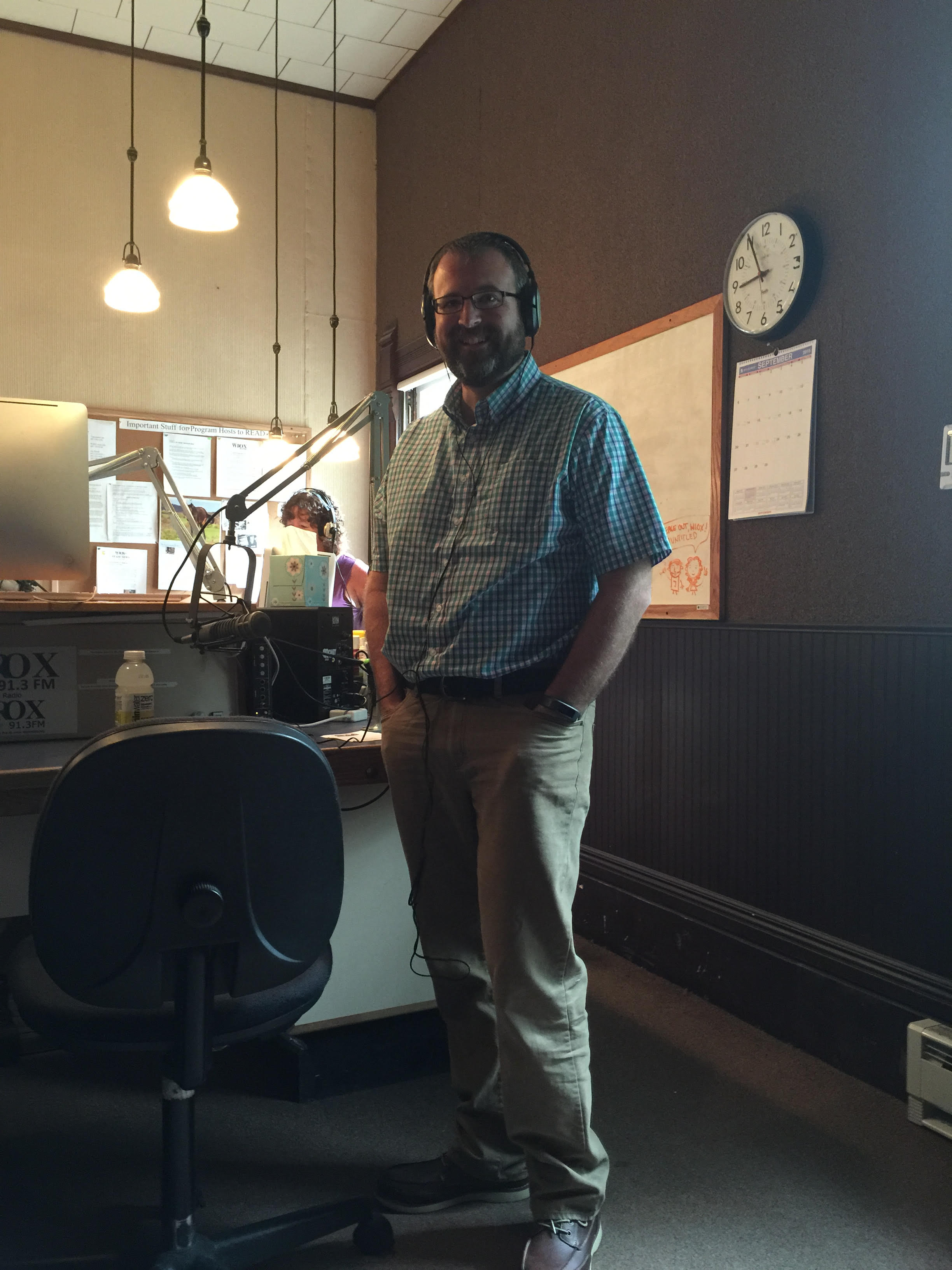 Executive Director Jeff Senterman getting ready for a Catskill Digest broadcast