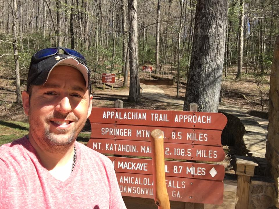 Moe getting ready to start his Appalachian Trail thru-hike at Amicalola Falls State Park in Georgia
