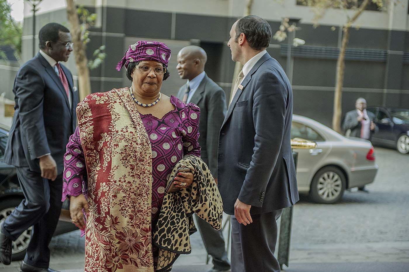 The former President of Malawi, Joyce Banda, arrives for the meeting of the Champions.