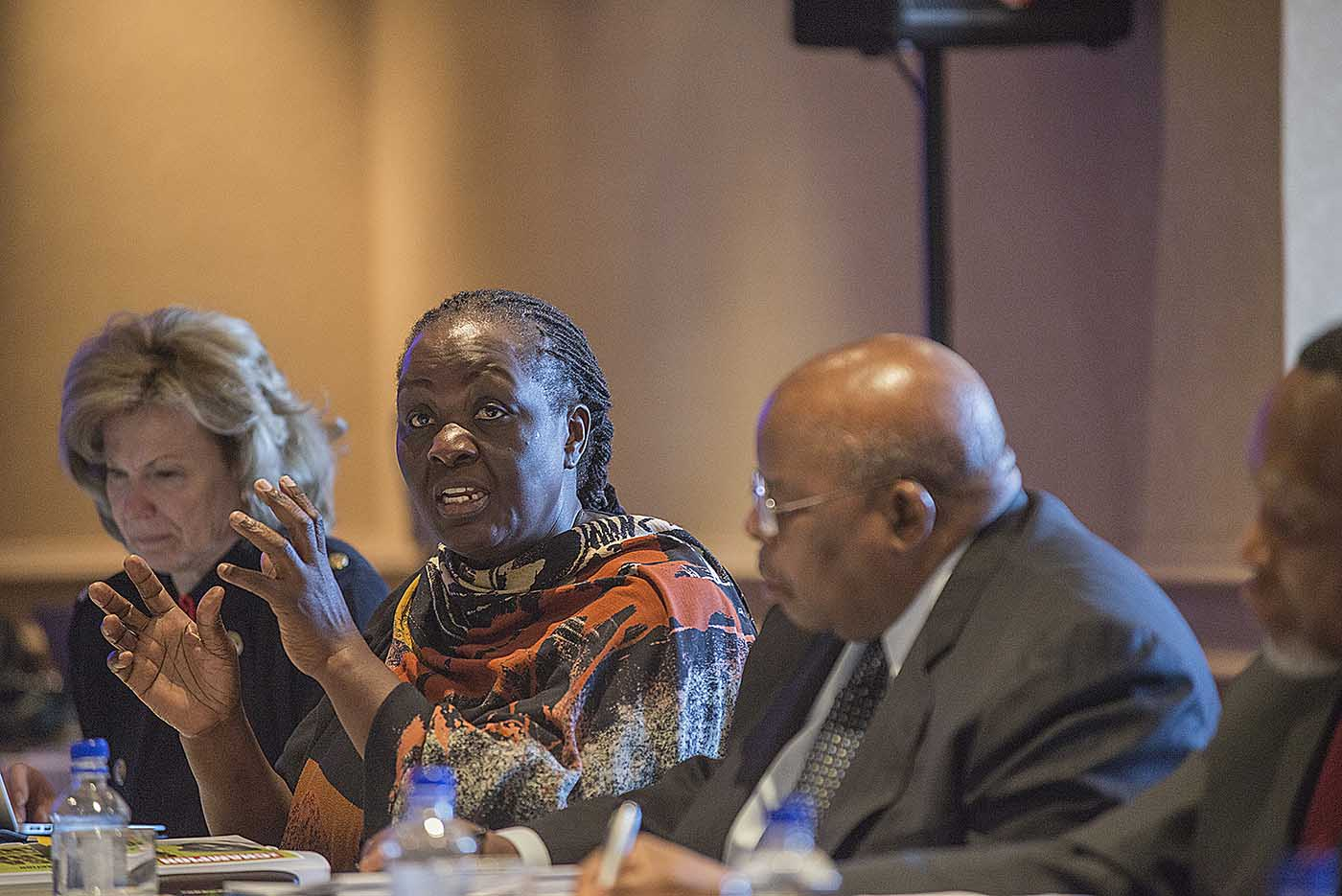 Former Vice-President of Uganda, Speciosa Wandira at the board meeting of the Champions.