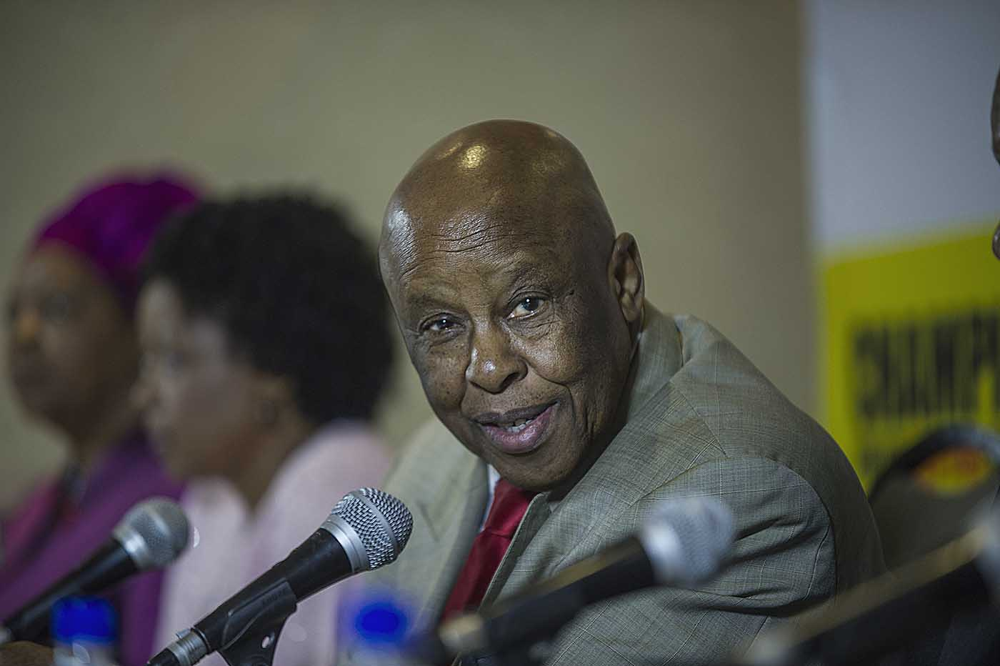 Former President of Botswana and Chairperson of the Champions, Festus Mogae, at the Champions press conference.