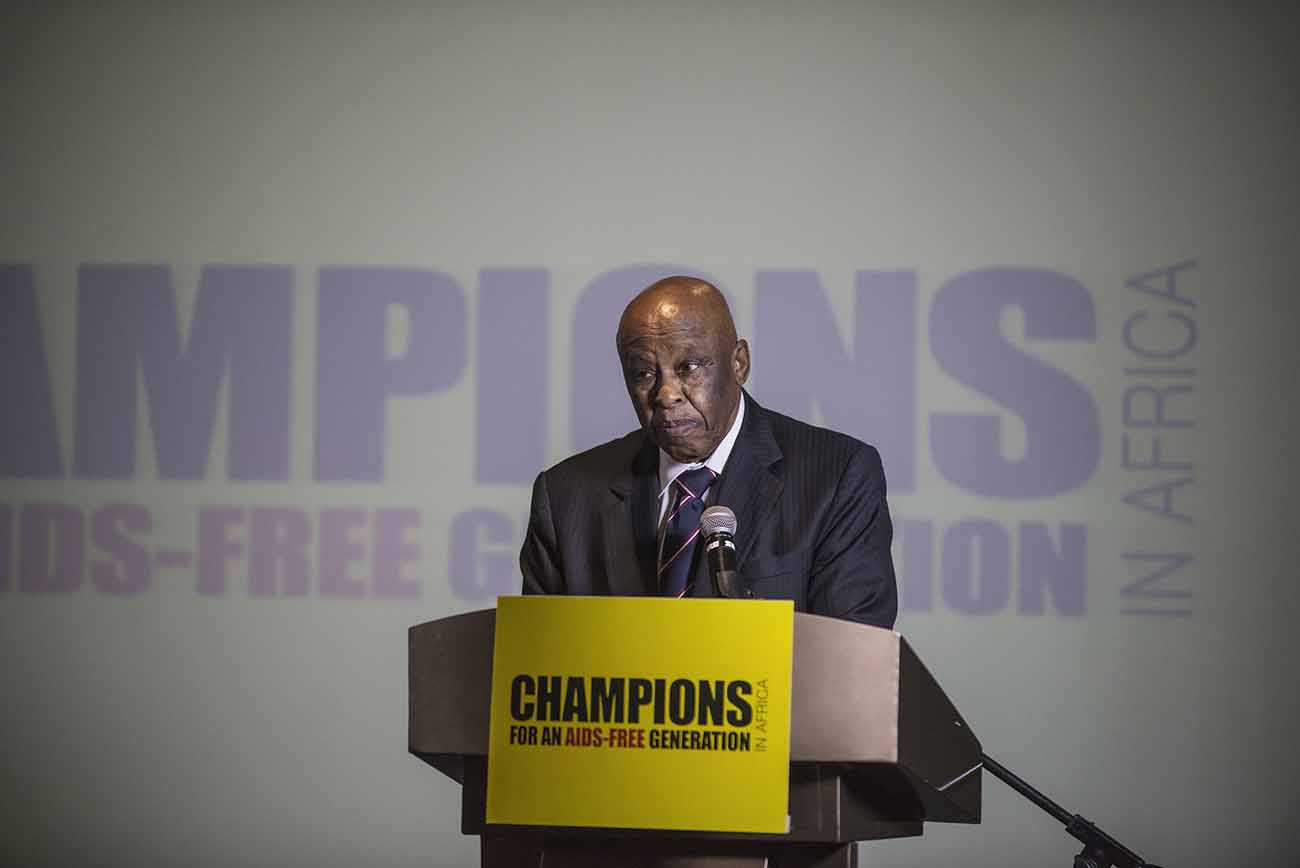Former President of Botswana and Chairperson of the Champions, Festus Mogae, addresses guests at the Champions Gala Dinner.