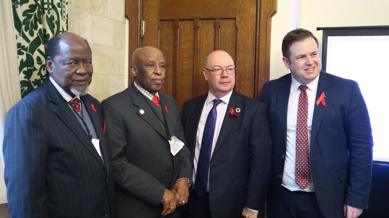 Champions H.E. Joaquim Chissano and H.E. Festus Mogae with The Right Honourable Alistair Burt MP and Minister of State Department of International Development and Stephen Doughty, Chair of the All Party Parliamentary Group on HIV/AIDS.
