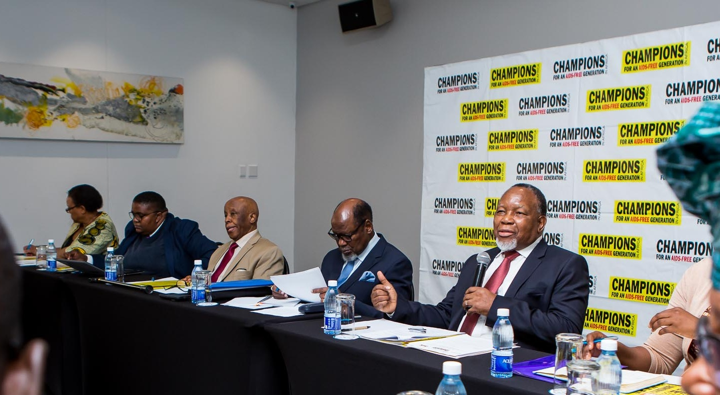 Champions H.E. Mogae, H.E. Joaquim Chissano and H.E. Kgalema Motlanthe at the HIV, Health and Inclusion high-level political dialogue in February 2019.  Photo Credit: The Royal Commonwealth Society/Champions for an AIDS-Free Generation in Africa