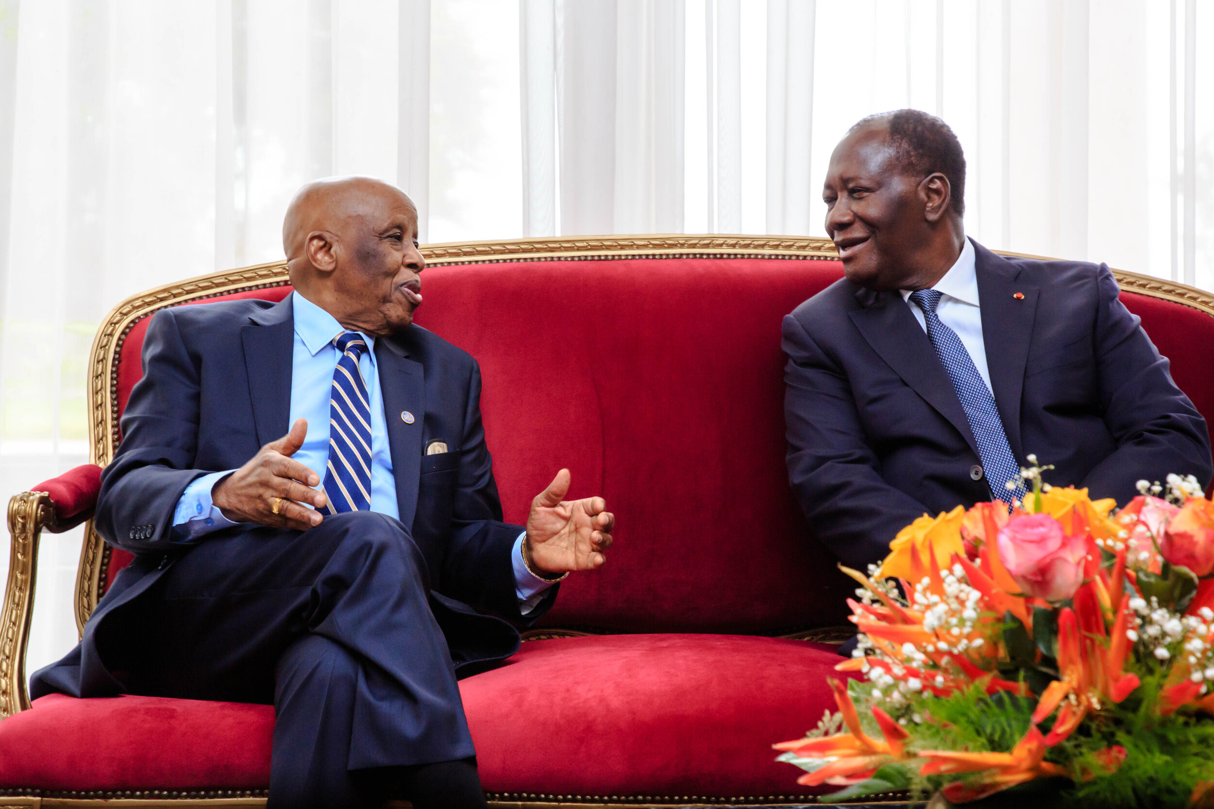 The former President of Botswana and Champion, His Excellency Festus Mogae, meeting with the President of the Republic of Côte d'Ivoire His Excellency Alassane Ouattara.