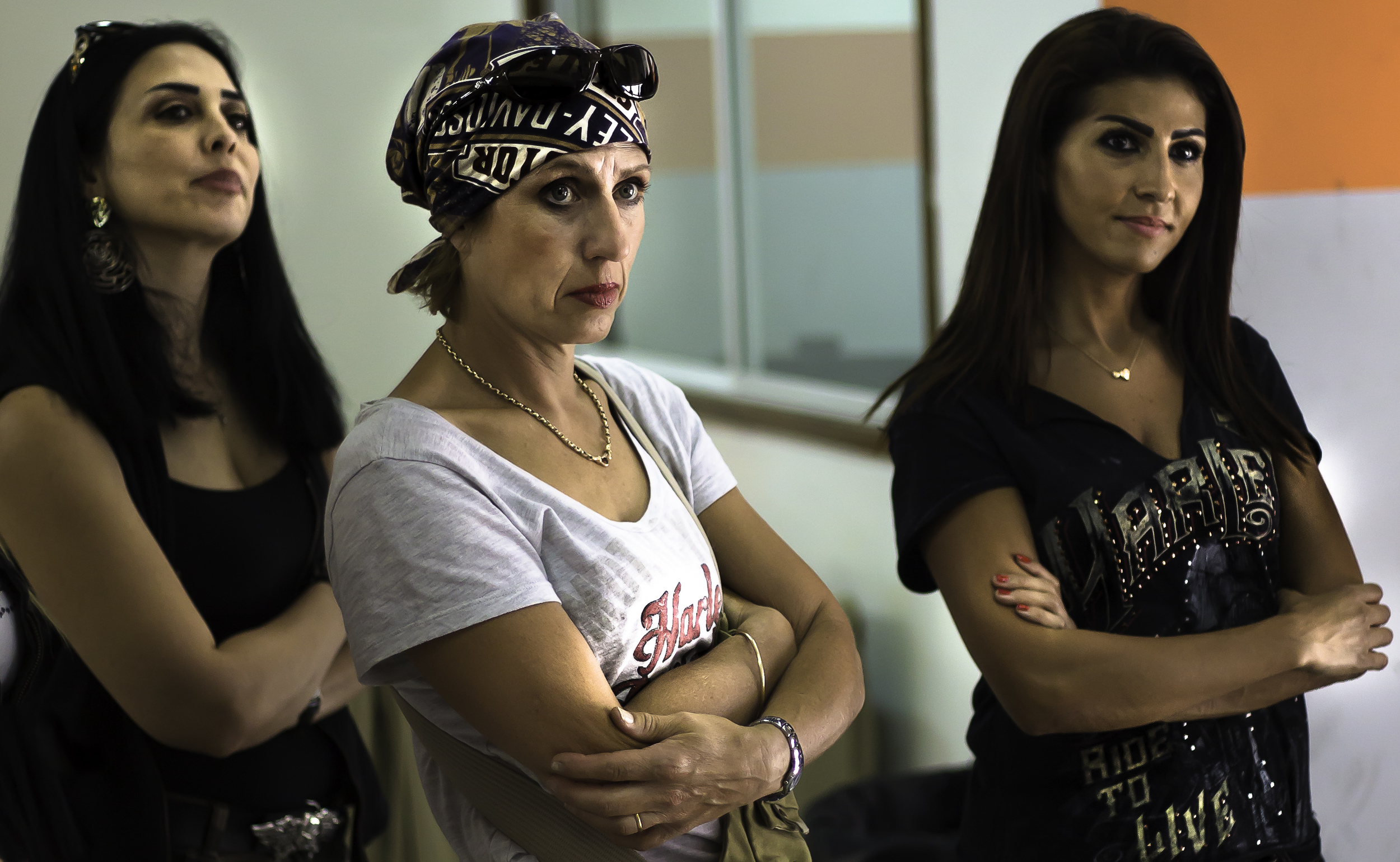 Dubai women bikers at a Harley Davidson Garage Party learn about motorcylce care.jpg