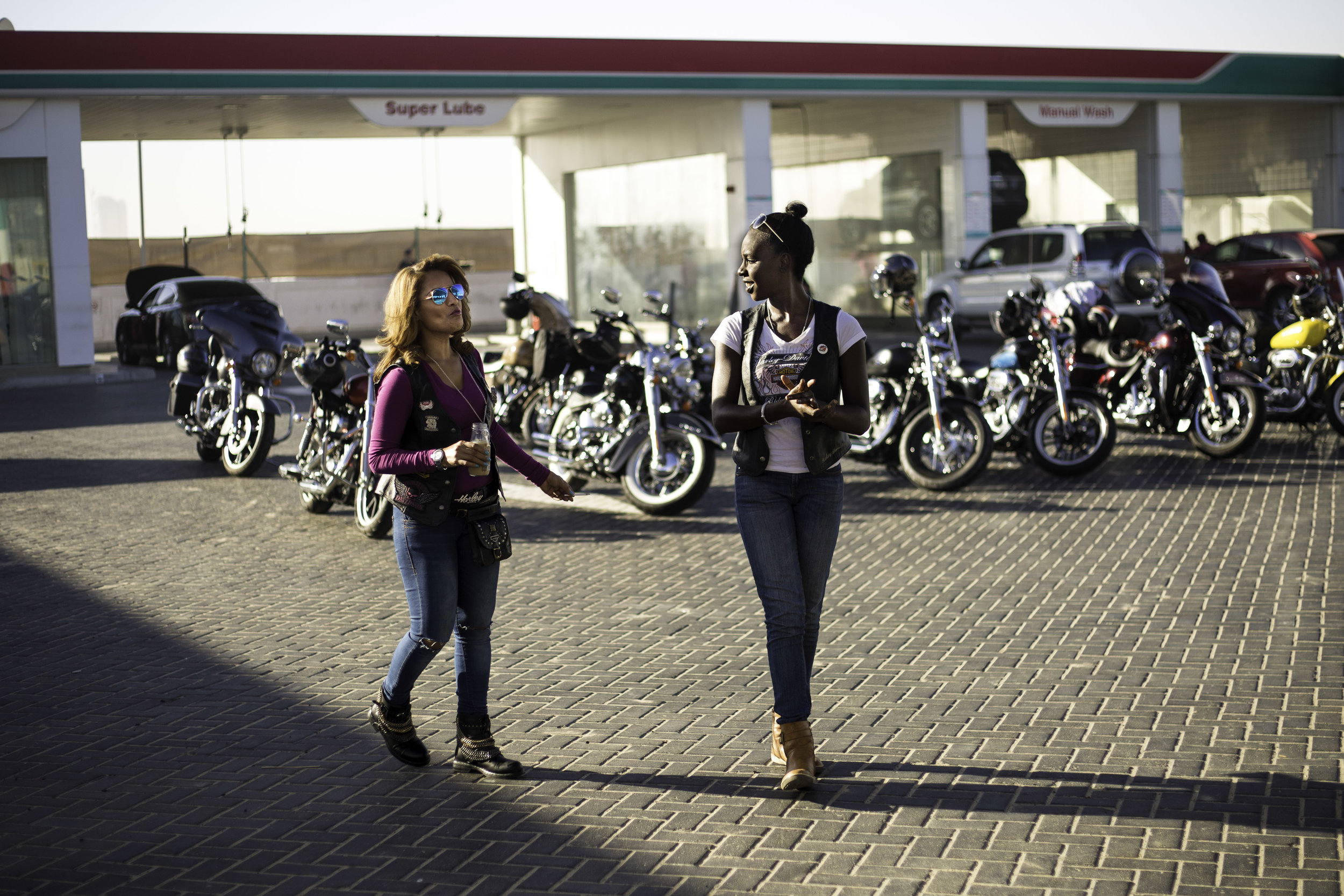 Two of the riders, including Catherine Hector (left), at the meeting point before riding on International Female Ride Day.jpg