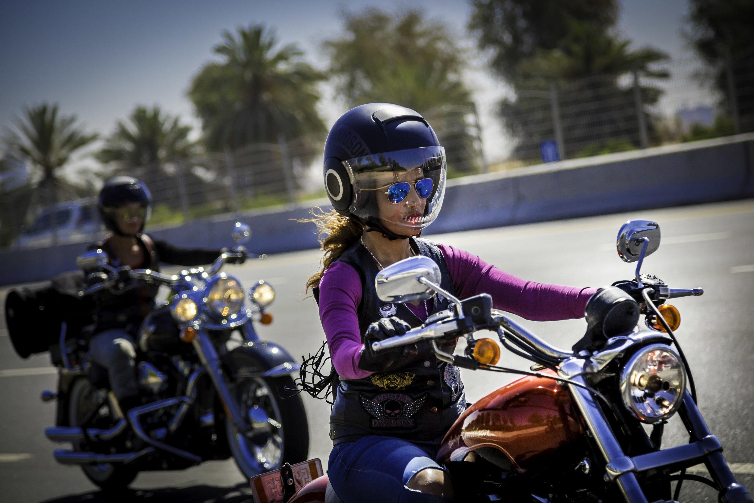 Dubai Ladies of Harley riders riding back to Dubai after marking International Female Ride Day.jpg