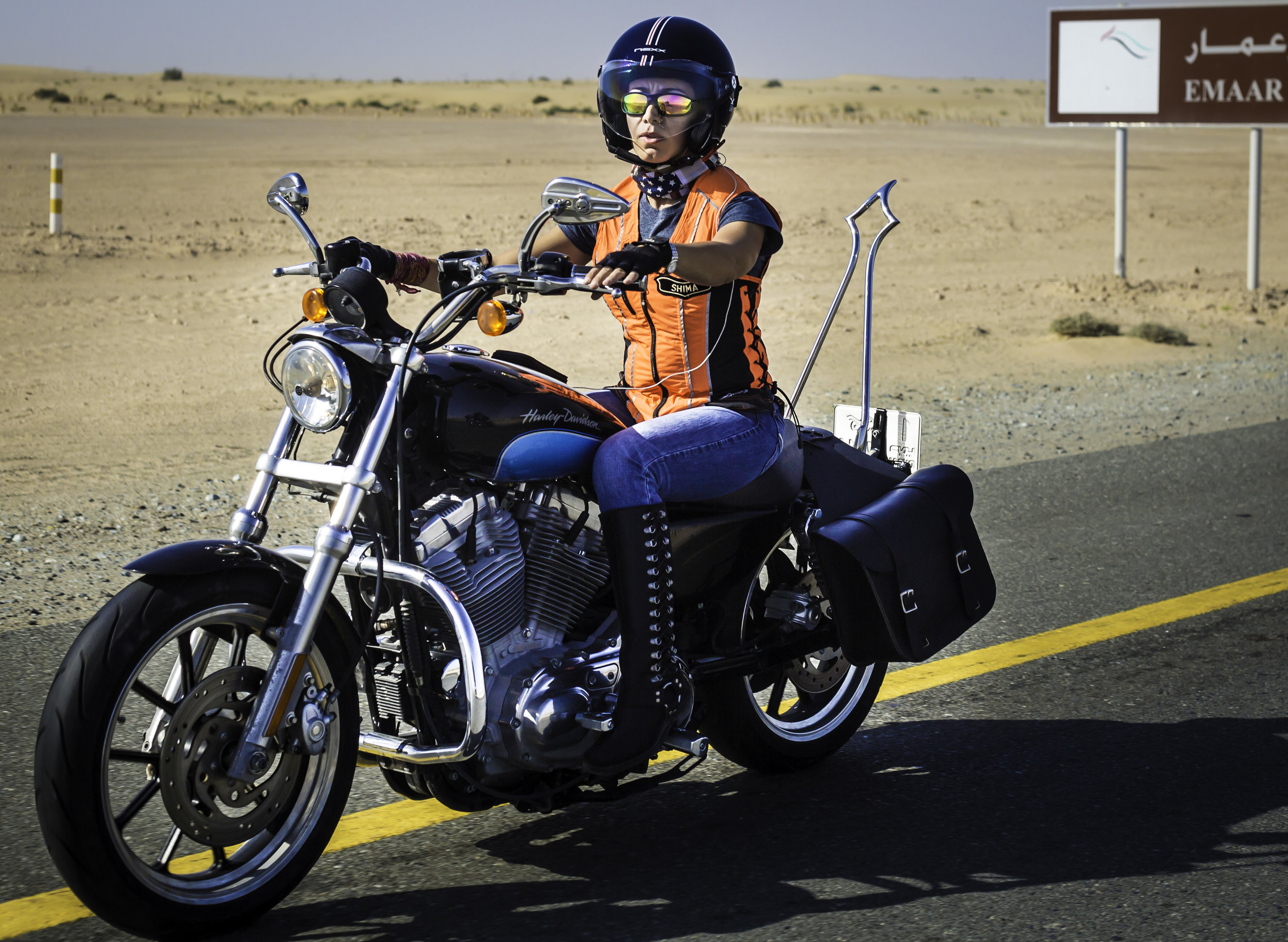 Shima Mehri leading the pack of Dubai Ladies of Harley riders on International Female Ride Day (1).jpg