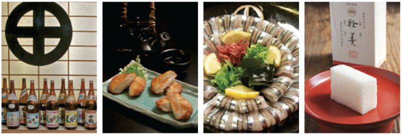 From left, brands of imo-jochu, distilled liquor made from sweet potatoes;satsumaage, a snack of seasoned     and deep-fried fish paste; freshly caught kibinago served as sashimi;karukan, a slightly sweet Japanese                                   confectionary with a light, fluffy texture.