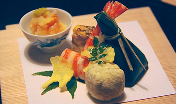 One dish at a kyo kaiseki dinner.