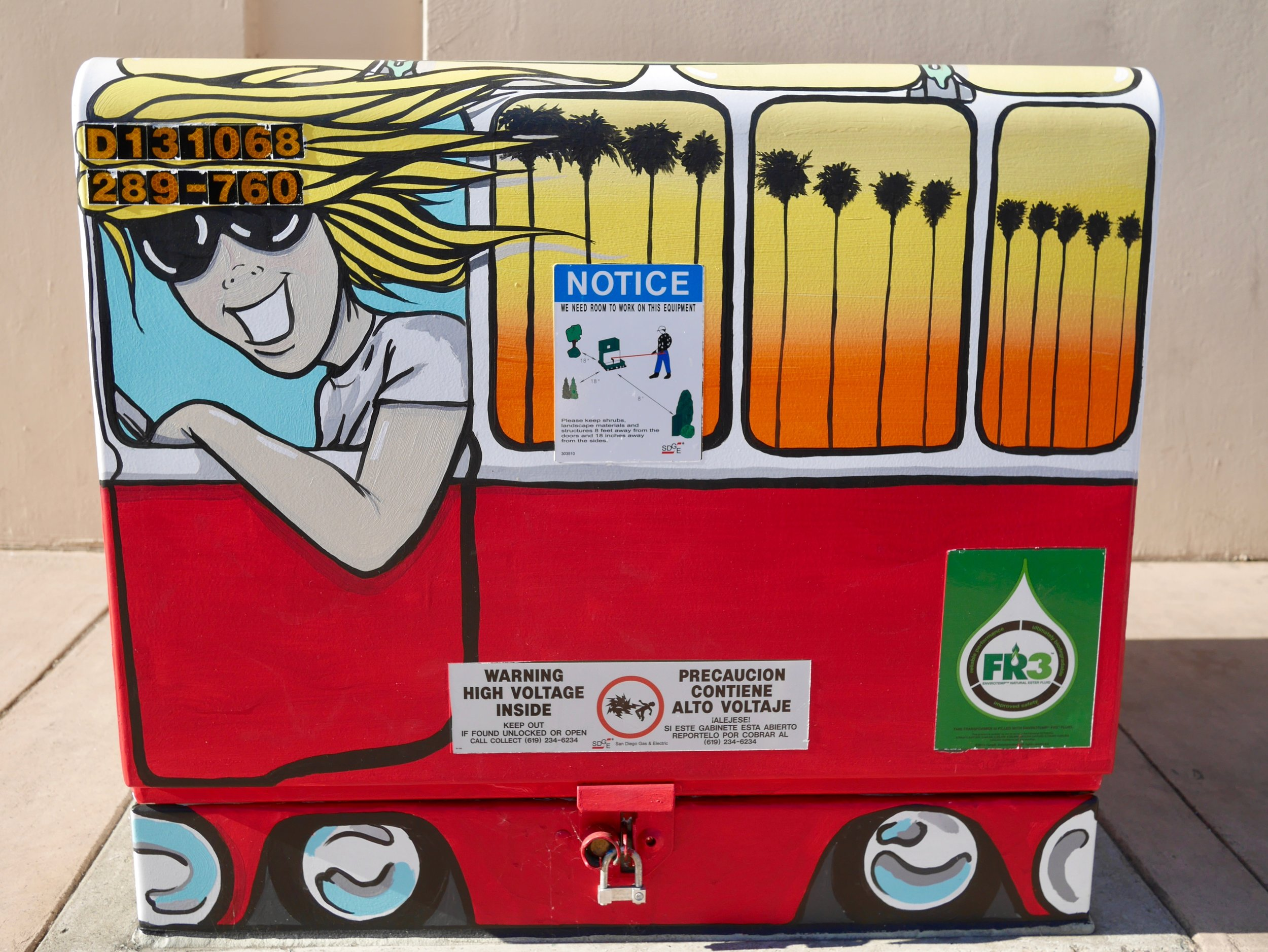 Utility Box painting by Steve Burrows of  Burrito Art  completed November 2017
