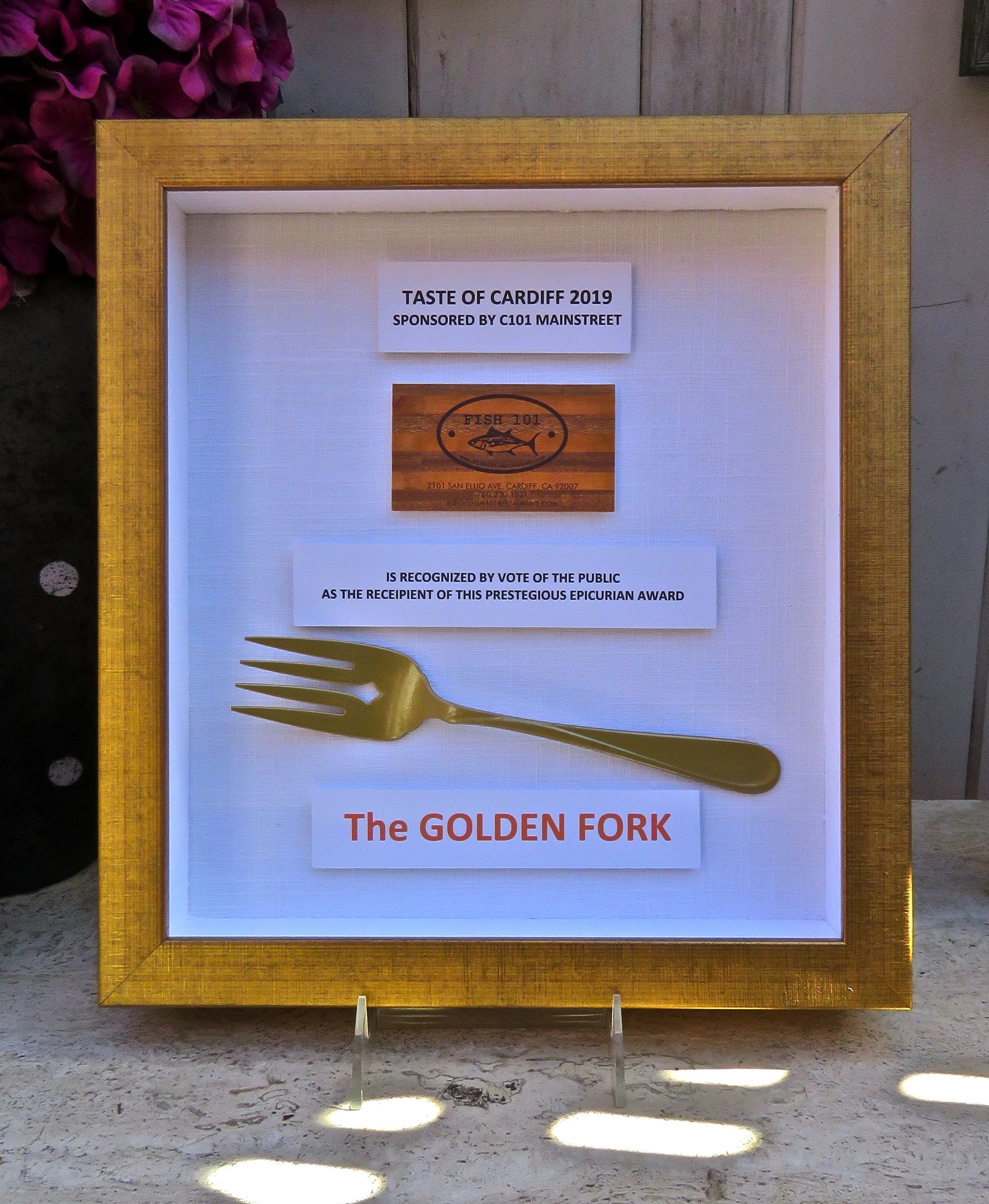 Thank you Morgan Mallory, owner of Corner Frame Shop in Leucadia from creating the 2019 Golden Fork award.