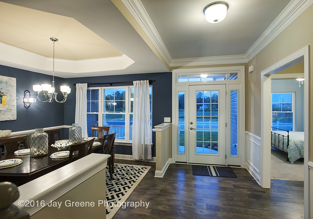 Blue hour photograph with warm LEDs interior lights