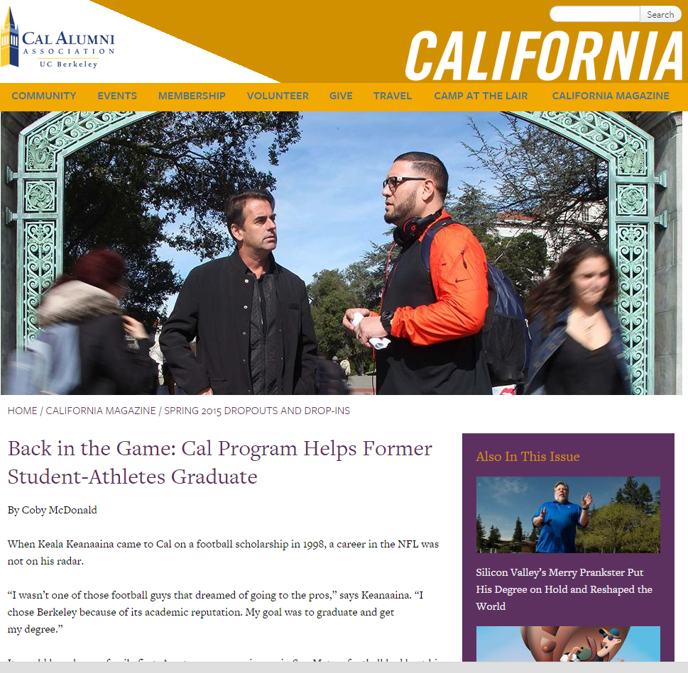 California Magazine honors Derek Van Rheenen's life changing Degree Completion Program for student athletes.