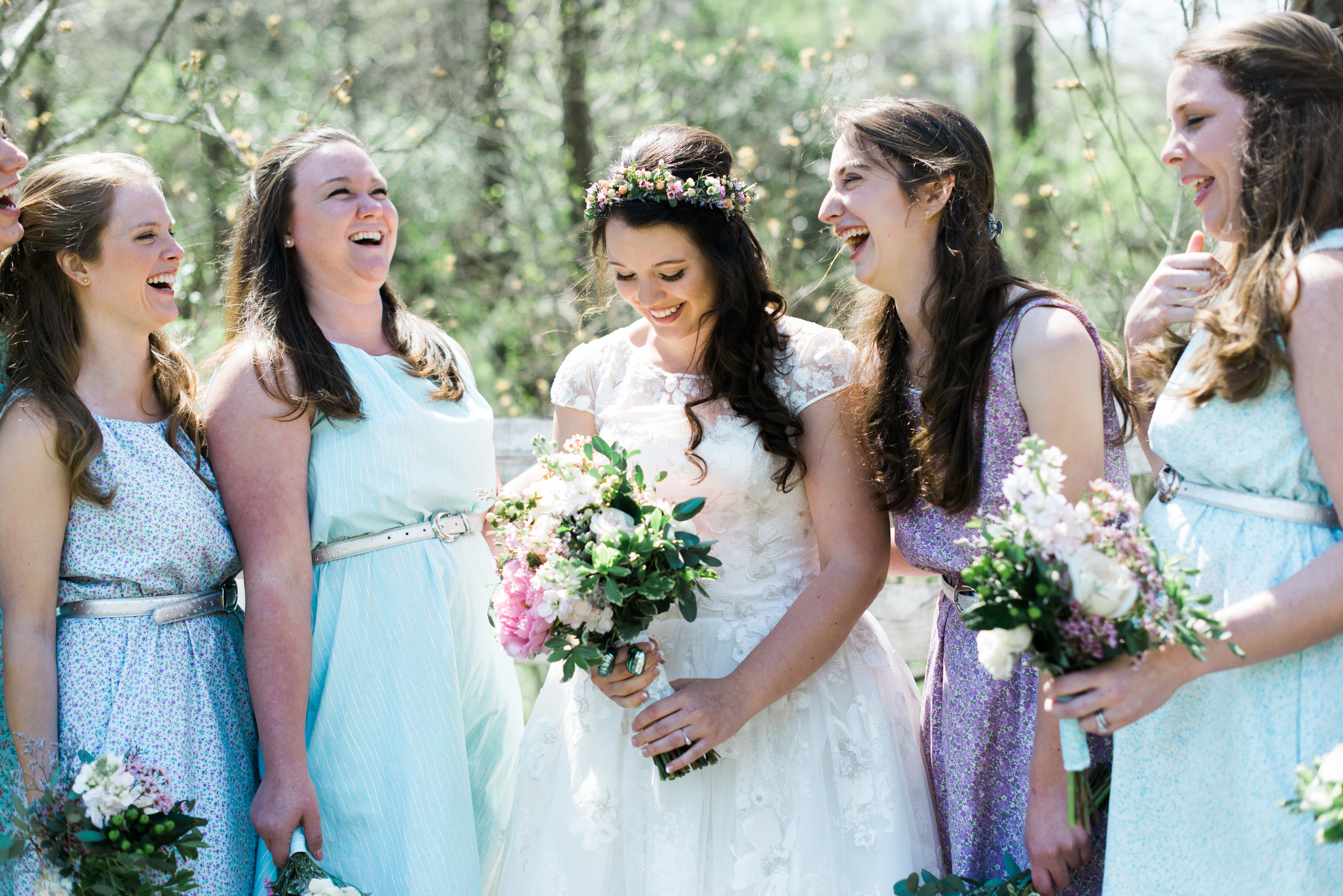 Jenevieve also MADE all of the bridesmaid's dresses. And yes, you guessed it, they match the groomsmen's bowties!