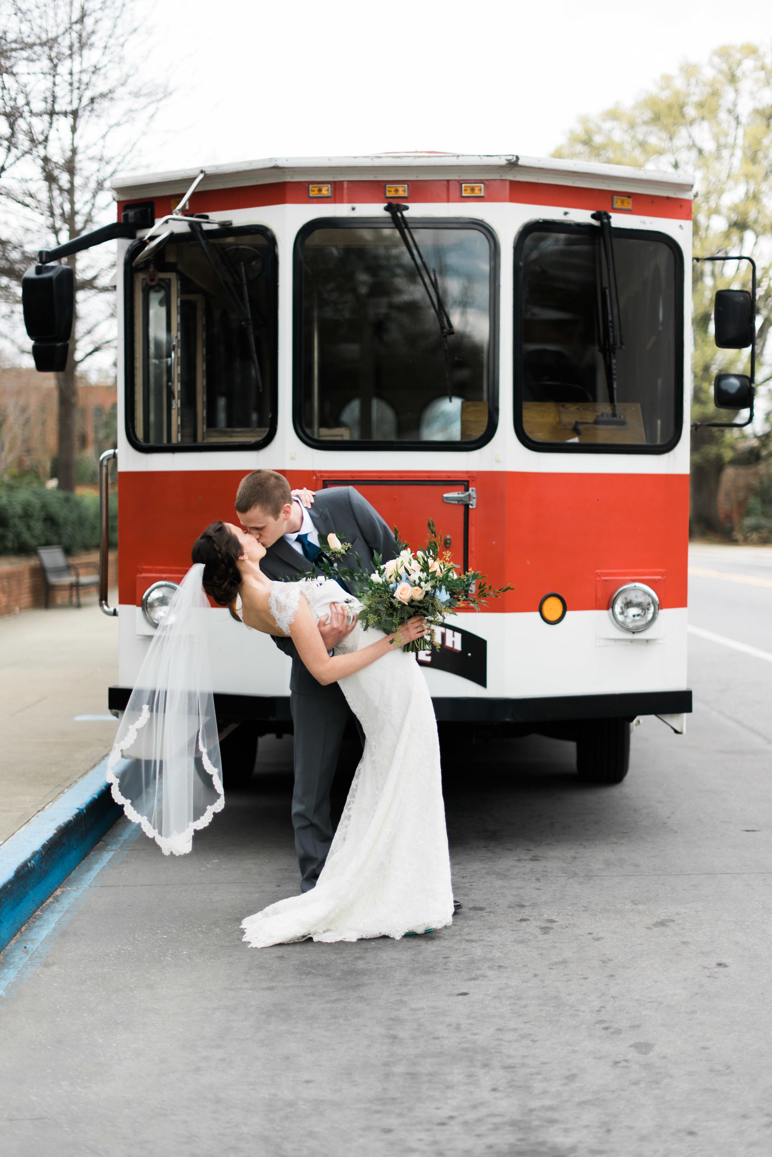 uga trolley bride and groom athens wedding photographer
