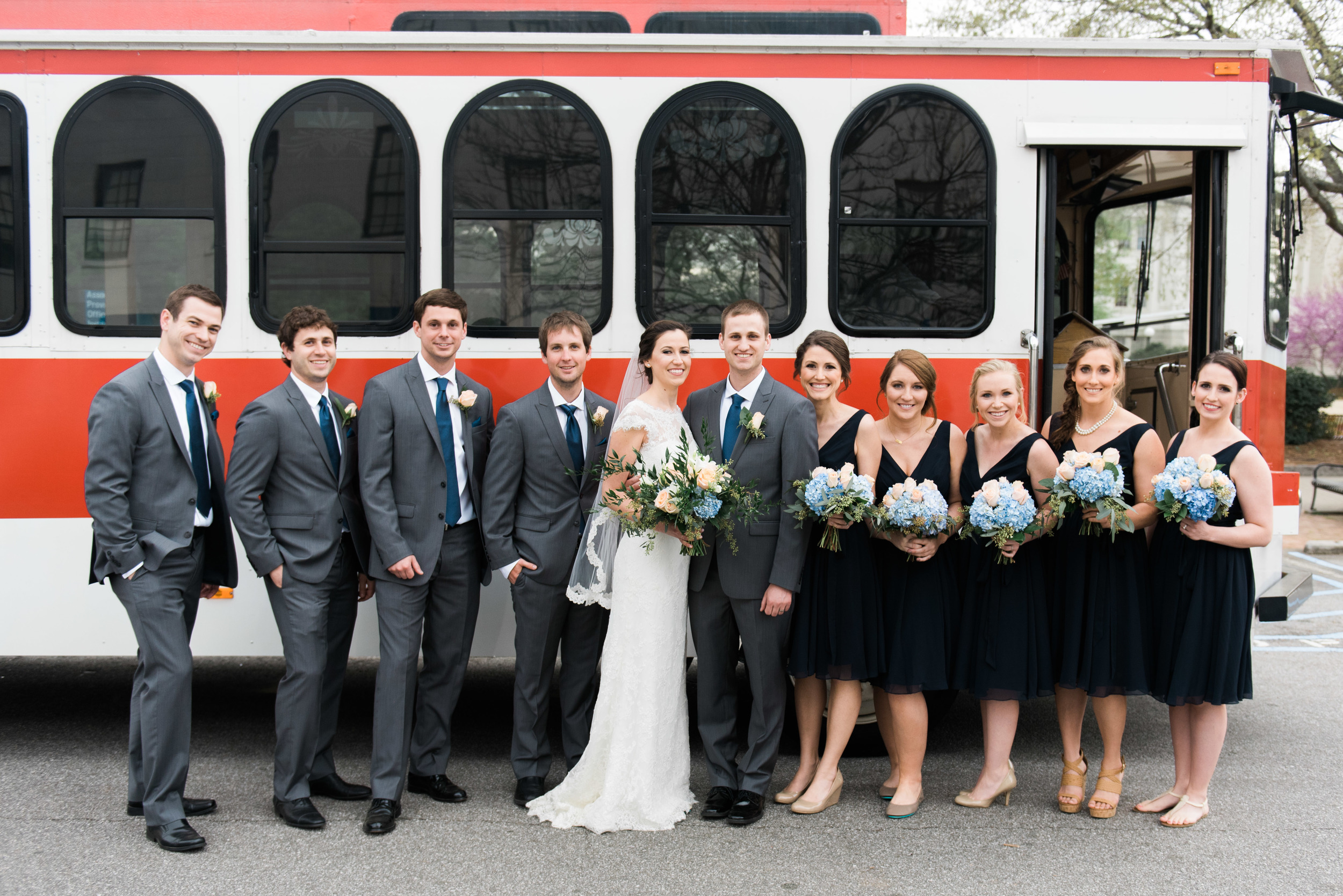 bridal party trolley uga athens wedding photographer