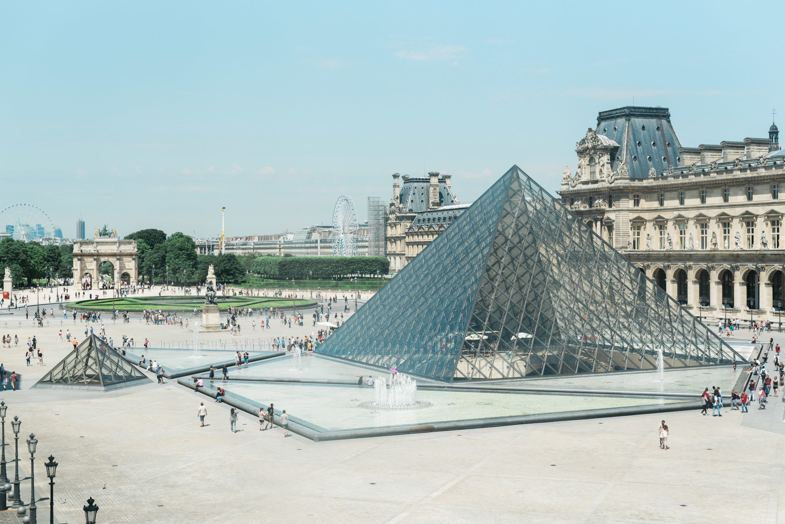 View of the courtyard from inside the Louvre