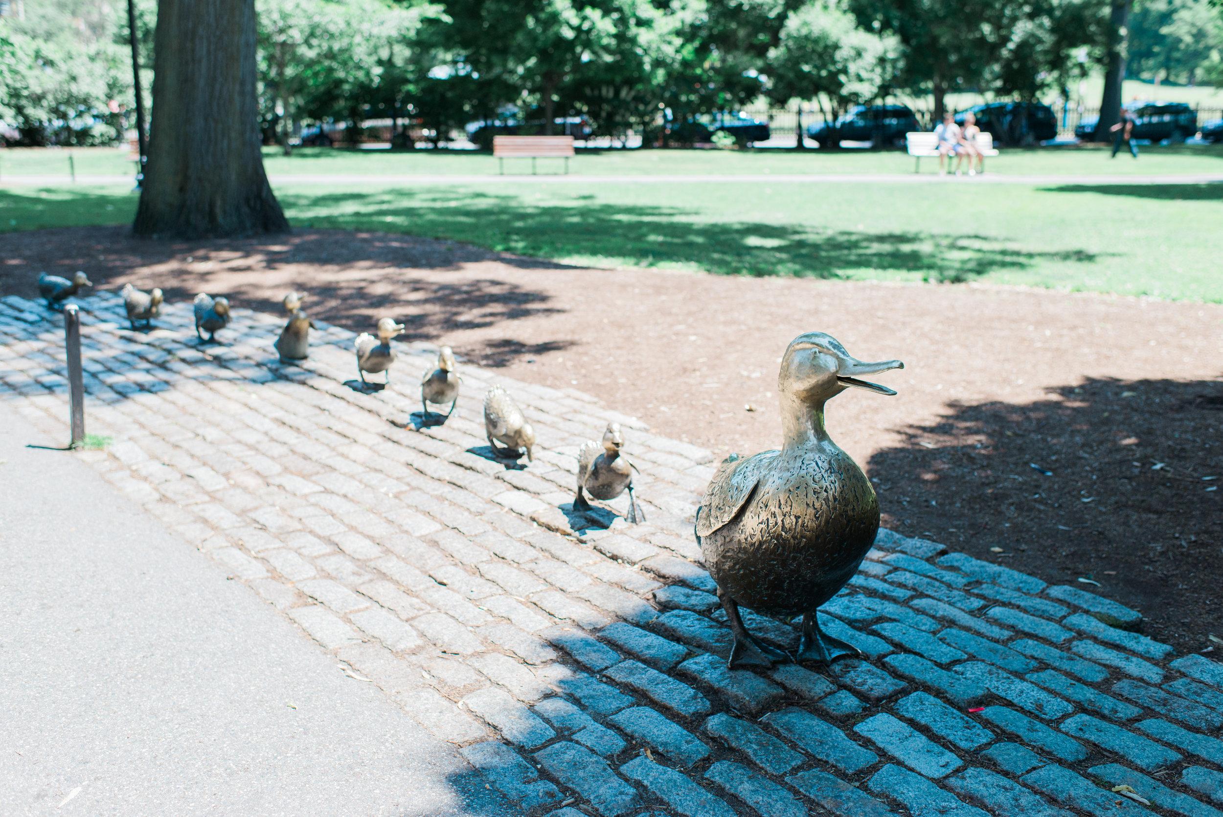 Make Way for Ducklings statue in the Boston Public Garden