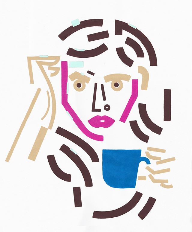 Eva is the last one I made for the series People Drinking Coffee. On display at @sixshootercoffee ✌️ visit if you can & get a coffee—treat yourself! come on.  Eva es la última pinturita que hice para la serie People Drinking Coffee ☕️ Acrílico en papel de 14 x 17 pulgadas. Me encantaría poder exhibir esta serie en algún espacio de aquellas lindas tierras del Sur de America 💙